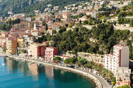 villefranche sur mer: Panoramic view of Cote dAzur near the town of Villefranche-sur-Mer