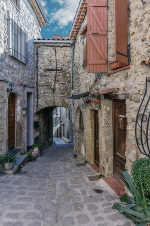 alpes: Narrow cobbled streets in the old village Lyuseram, France Stock Photo
