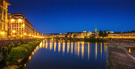 medici: Embankment of the river Arno in Florence at night Stock Photo