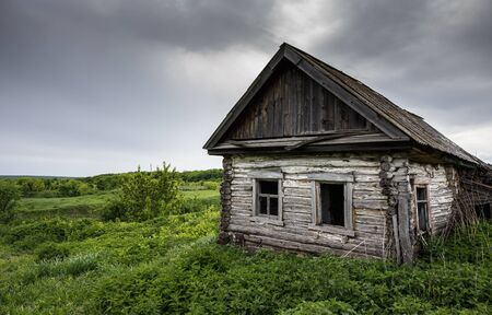 countrified: Dilapidated old wooden rustic house in Russia