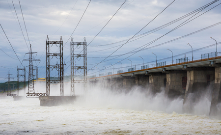 hydroelectric power station: Hydroelectric power station. Water dumping Stock Photo