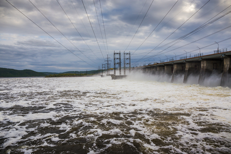 dumping: Hydroelectric power station. Water dumping Stock Photo