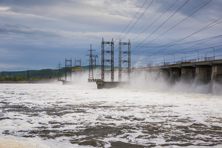 electric generating plant: Hydroelectric power station. Water dumping Stock Photo