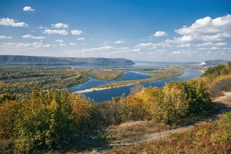 volga river: View on the valley of Volga river from the hill