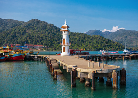 mart: KOH CHANG, THAILAND - MART 30,  2015:  Lighthouse on a Bang Bao pier on Koh Chang Island in Thailand