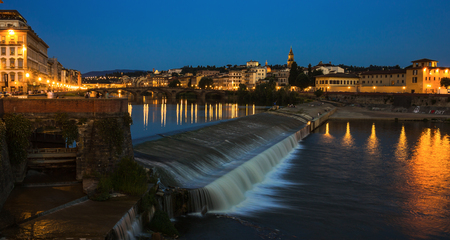 arno: Embankment of the river Arno in Florence at night Stock Photo