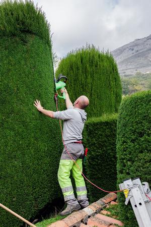 GOURDON, FRANCE - OCTOBER 31, 2014: Gardener mows bushes Editorial
