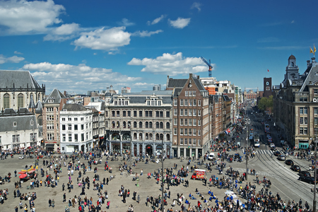 dam square: AMSTERDAM, NETHERLANDS - MAY 5, 2015: Dam Square, top view Editorial