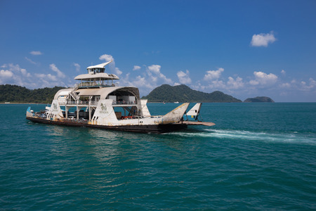 trat: TRAT , THAILAND- 4 APRIL , 2015 : Port ferry boat in Koh Chang Island
