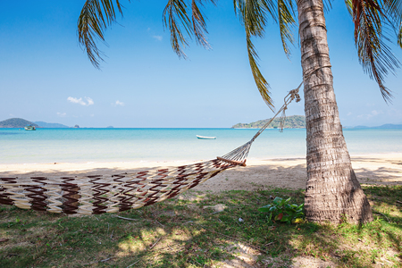 Hammock in the shade of palm trees on a tropical beach