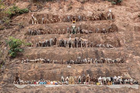 figurines: Decorative figurines of elephants in Thailand Stock Photo