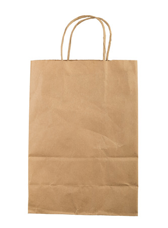 brown paper bag: Brown paper bag isolated on white background Stock Photo