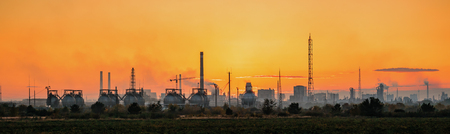 catalytic: Industrial landscape of chemical factory on sunset