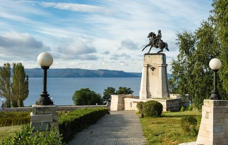 Monument of Vasily Tatishchev on the banks of the Volga river at Togliatti, Russia