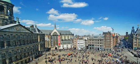 AMSTERDAM, NETHERLANDS - MAY 5, 2015: Dam Square, Panoramic top view 新闻类图片
