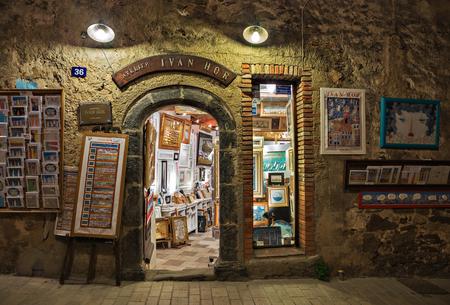 SAINT-TROPEZ, FRANCE - NOVEMBER 3, 2014:  Art atelier Ivan Hor on the street at night Editorial