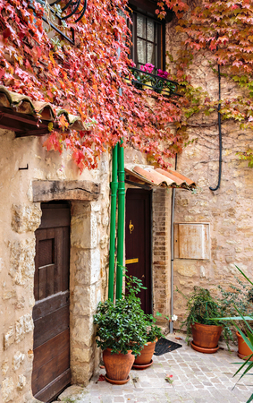 Patio in the old village Vence , France.