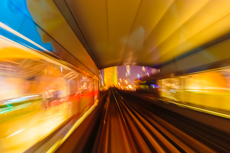 Abstract background metro subway tracks blur Stock Photo