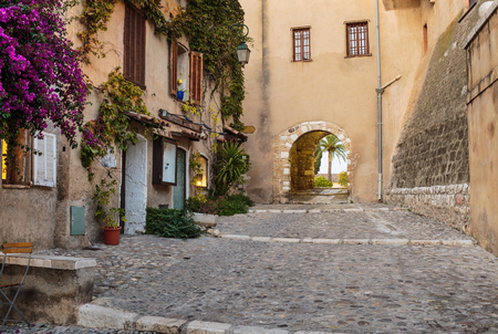 archways: Street in the old town Eze in France.