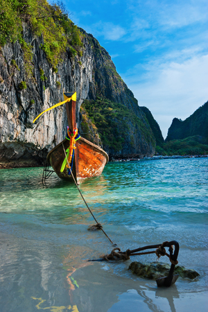 Traditional boats in the famous Maya bay of Phi-phi Leh island, Thailand