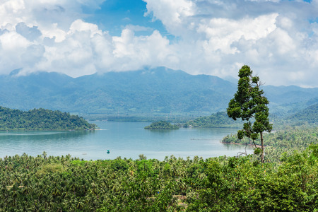 popular: Panoramic view of the coast of the tropical island Stock Photo