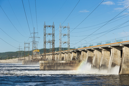 Hydroelectric power station. Water dumping Stock Photo