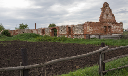 Dilapidated stud farm  in the countryside Stock Photo