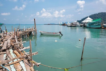 KOH CHANG, THAILAND - 3 APRIL, 2015: Bay in the fishing village of Bang Bao near the lighthouse
