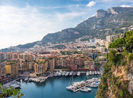 Panoramic view of Monte Carlo harbour in Monaco