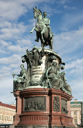 saint nicolas: The Monument to Nicholas I, a bronze equestrian monument of Nicholas I of Russia on St Isaacs Square in Saint Petersburg, Russia