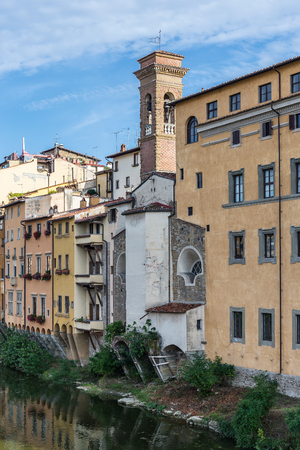 Old houses along the bank of the Arno River in Florence, Italy Stock Photo