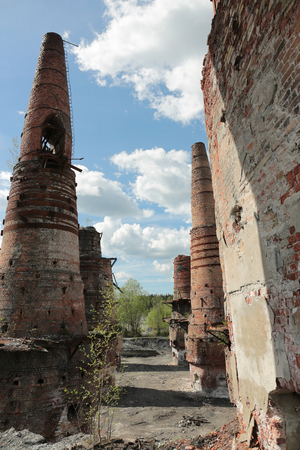 Old brick pipes of abandoned marble factory in Ruskeala, Karelia republic, Russia Stock Photo