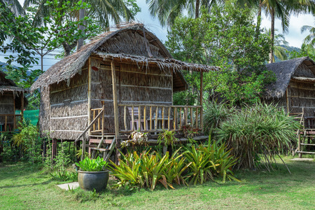 Cottages are made of palm leaves in the Tropics