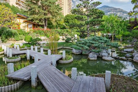 Japanese garden in Monte Carlo Stock Photo