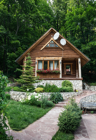 Chalet from logs in the forest