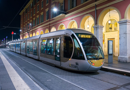 NICE, FRANCE - NOVEMBER 2, 2014: Tram in the center of Nice at night