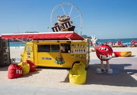 DUBAI, UAE - DECEMBER 5, 2017: Stall with ice cream on the New public beach - Jumeirah Beach Residence JBR  with a 2 km promenade Editorial