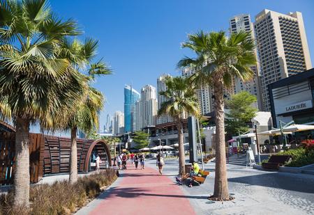 DUBAI, UAE - NOVEMBER 30, 2017:  New public beach - Jumeirah Beach Residence JBR  with a 2 km promenade