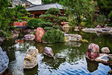 Japanese garden in Monte Carlo, Monaco Editorial