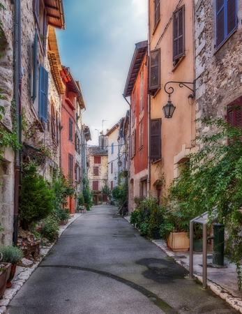 Narrow street in the old village Vence, France.
