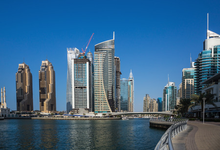 DUBAI, UAE - NOVEMBER 29, 2017: Panoramic view of the canal from the bridge in the Dubai Marina area Editorial