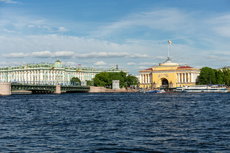 SAINT PETERSBURG, RUSSIA - JUNE 14, 2017: View of the Winter Palace and Admiralty Embankment