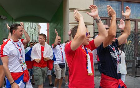 MOSCOW, RUSSIA - June 27, 2018: Football fans on Nikolskaya street