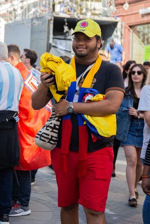 MOSCOW, RUSSIA - June 15, 2018: FIFA WORLD CUP Football fans on Nikolskaya street Редакционное