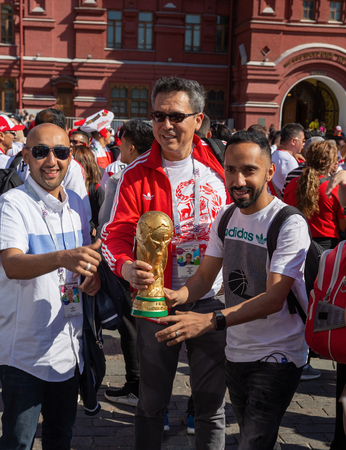 MOSCOW, RUSSIA - June 15, 2018: Football fans on the street in Moscow during the World Cup