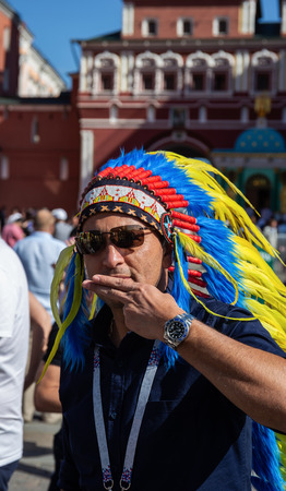 MOSCOW, RUSSIA - June 15, 2018: Football fan on the street during the World Cup