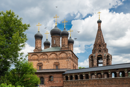 MOSCOW, RUSSIA - June 3, 2018:  Antique Krutitsy Patriarchal cloister courtyard, established in the late 13th century