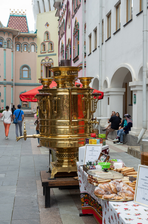 MOSCOW, RUSSIA - June 26, 2018: A huge samovar in Izmaylovsky Kremlin.