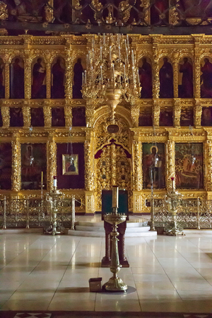 SERGIEV POSAD, RUSSIA - June 21, 2018:  Interior with holy relics. Holy Trinity - St. Sergius Lavra Editorial