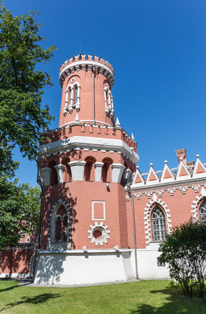 Petrovsky travelling palace in Moscow, neoghotic red bricked architecture